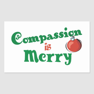 La compasión es feliz rectangular pegatina