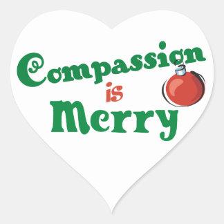 La compasión es feliz pegatinas de corazon personalizadas