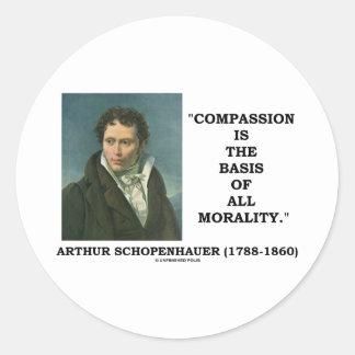 La compasión es la base de toda la cita de la pegatina redonda
