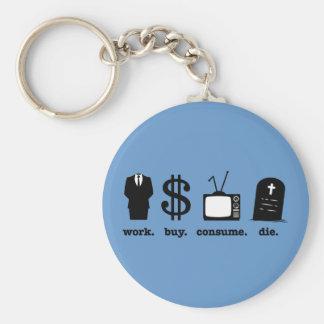 la compra del trabajo consume muere llavero redondo tipo pin