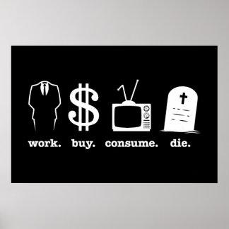 la compra del trabajo consume muere póster
