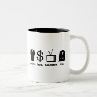 la compra del trabajo consume muere taza de dos tonos