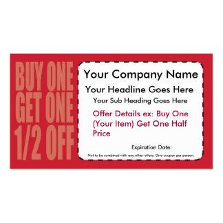 La compra una consigue un 1/2 de tarjeta de la cup plantilla de tarjeta de negocio