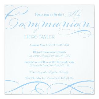 La comunión santa azul invita invitación 13,3 cm x 13,3cm