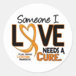 La conciencia de la leucemia NECESITA una CURACIÓN Etiquetas Redondas