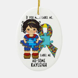 ¡La conciencia del autismo me etiqueta AU-SOME! Ornamento Para Arbol De Navidad