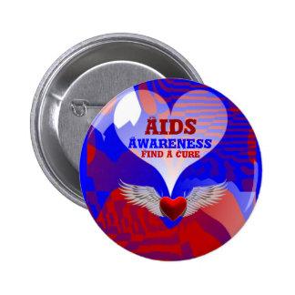 La conciencia del SIDA, encuentra un Cure_Button Pin Redondo De 2 Pulgadas