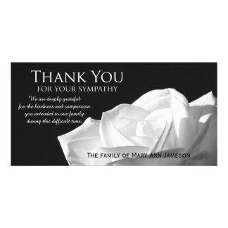 La condolencia color de rosa le agradece tarjeta tarjeta personal con foto