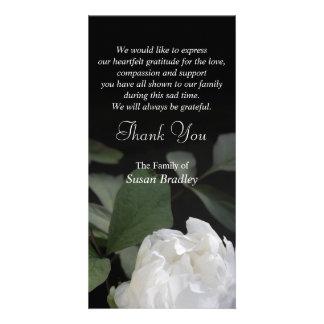 La condolencia conmemorativa del Peony 1 blanco le Tarjetas Con Fotos Personalizadas