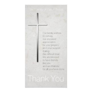 La condolencia cristiana de la cruz 3 le agradece tarjeta con foto personalizada
