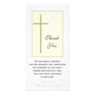 La condolencia cristiana le agradece tarjeta de la tarjeta fotografica personalizada