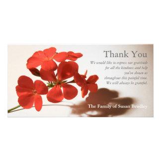 La condolencia del geranio 2 le agradece sello a tarjetas personales con fotos