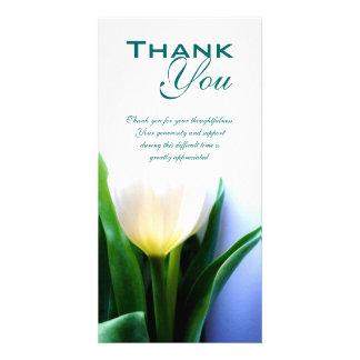 La condolencia el entierro le agradece tarjeta de plantilla para tarjeta de foto