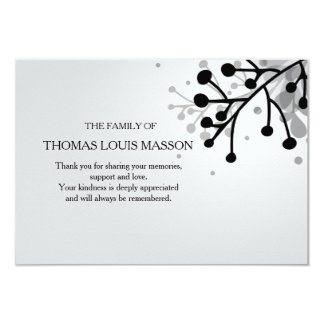 """La condolencia floral blanco y negro le agradece invitación 3.5"""" x 5"""""""