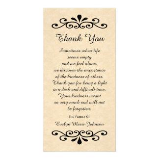 La condolencia le agradece mirada del pergamino de tarjetas fotográficas personalizadas