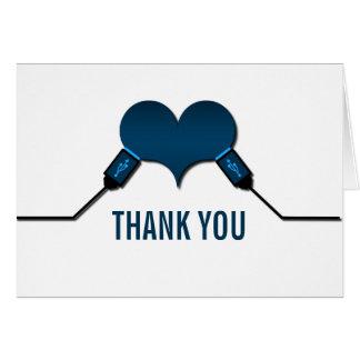 La conexión USB del amor le agradece cardar, azul Felicitaciones
