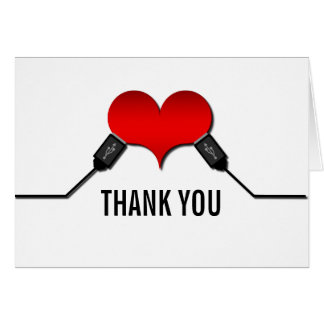 La conexión USB del amor le agradece cardar, rojo Felicitación