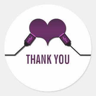 La conexión USB del amor le agradece los Etiqueta Redonda