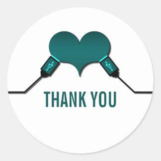 La conexión USB del amor le agradece los Pegatinas Redondas