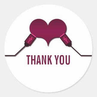 La conexión USB del amor le agradece los Pegatina Redonda