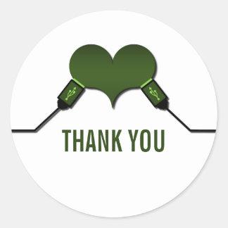 La conexión USB del amor le agradece los Etiquetas Redondas