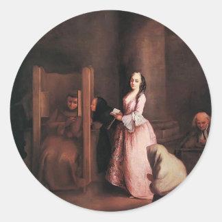 La confesión de Pietro Longhi Etiquetas Redondas