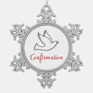 La confirmación de la enhorabuena se zambulló con adorno de peltre en forma de copo de nieve