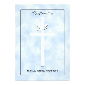 La confirmación invita - la paloma y la cruz en invitacion personalizada