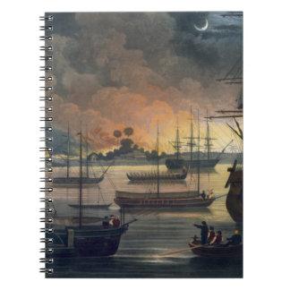 La conflagración de Dalla en el río de Rangoon, p Libro De Apuntes