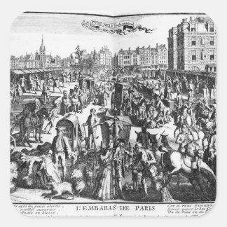 La congestión en París Calcomanía Cuadradas Personalizadas