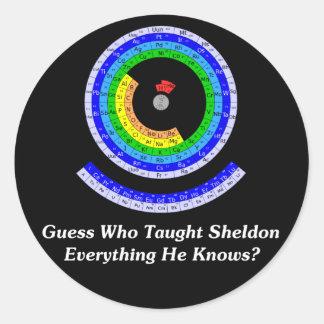 ¿La conjetura quién enseñó Sheldon todo él sabe? Pegatina Redonda