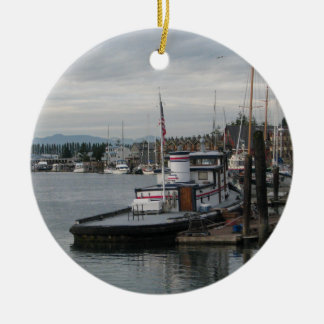 La Conner Barge Ceramic Ornament