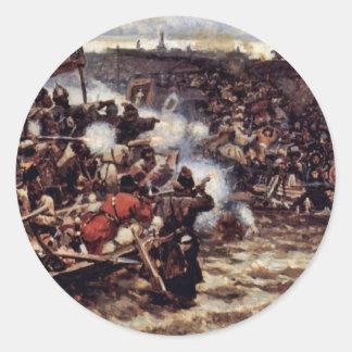 La conquista de Siberia por Yermak de Surikow Pegatina Redonda