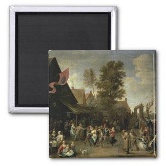 La consagración de una iglesia del pueblo, c.1650 imán cuadrado