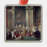 La consagración del emperador Napoleon Adorno Navideño Cuadrado De Metal