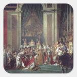 La consagración del emperador Napoleon Pegatina Cuadrada