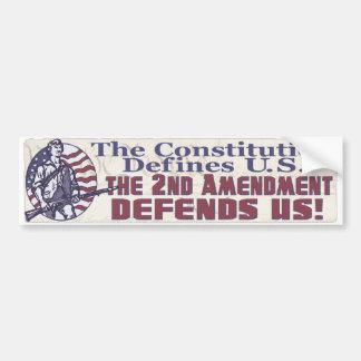 La constitución define la enmienda de los E.E.U.U. Pegatina Para Auto