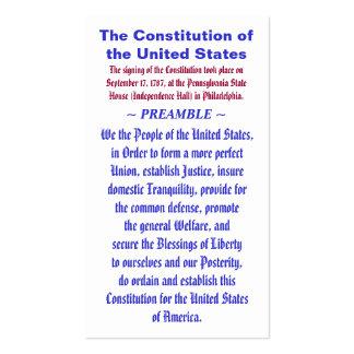 La constitución del PREÁMBULO del ~ de Estados Tarjetas De Visita