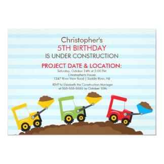 """La construcción acarrea a la fiesta de cumpleaños invitación 5"""" x 7"""""""