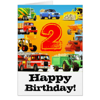 La construcción acarrea el 2do cumpleaños del tarjeta de felicitación