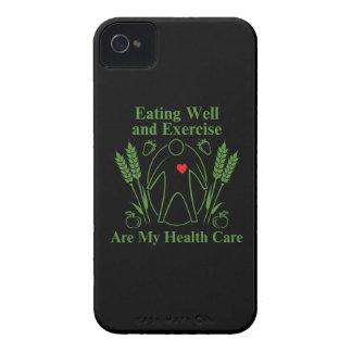 La consumición bien y ejercicio es mi atención iPhone 4 Case-Mate protectores