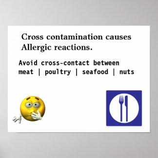 La contaminación cruzada causa reacciones alérgica póster
