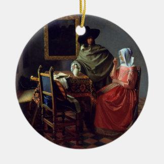 La copa de vino, enero Vermeer Adorno Redondo De Cerámica