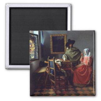La copa de vino, enero Vermeer Imán Cuadrado