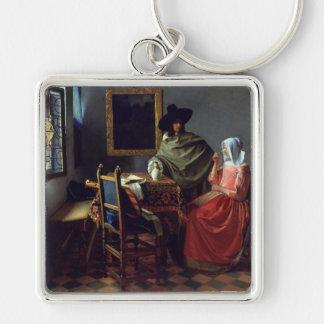 La copa de vino, enero Vermeer Llavero Cuadrado Plateado