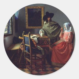 La copa de vino, enero Vermeer Pegatina Redonda