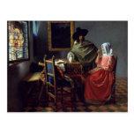 La copa de vino, enero Vermeer Tarjeta Postal
