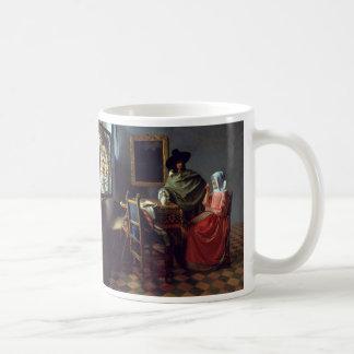 La copa de vino, enero Vermeer Taza Básica Blanca