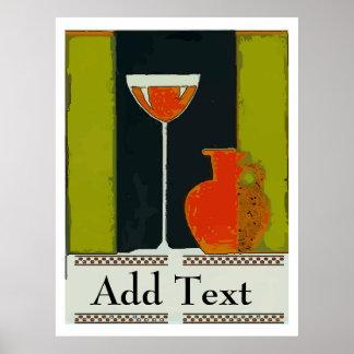 La copa de vino y la botella roja añaden el texto póster