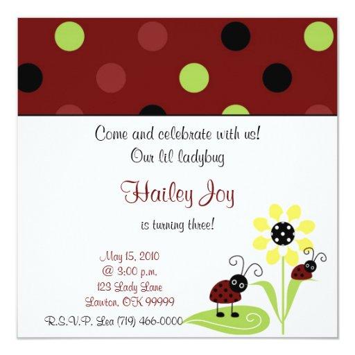 """¡la copia ladybug2, viene y celebra con nosotros! invitación 5.25"""" x 5.25"""""""
